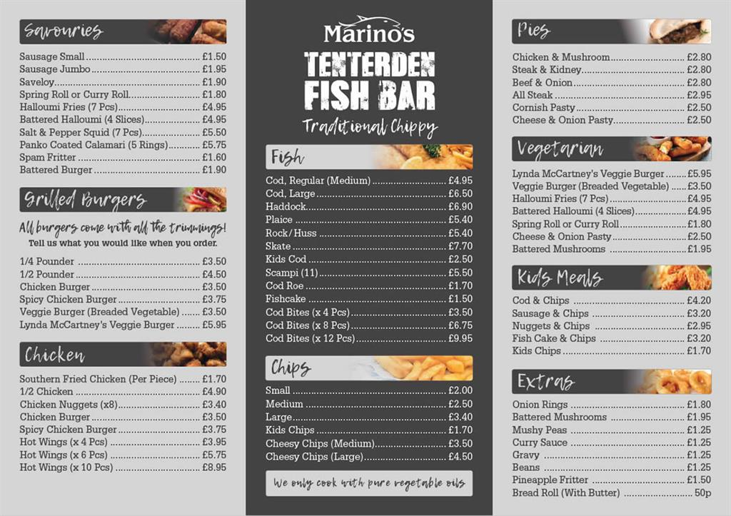 Marinos Tenterden Fish Bar menu