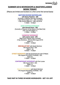 Summer 2018 Workshops and Masterclasses