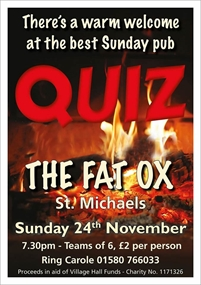 Monthly Pub Quiz at The Fat Ox Pub