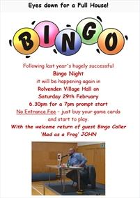 Bingo Night   Rolvenden Village Hall