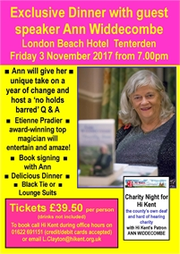 Exclusive Dinner with Guest Speaker Ann Widdecombe